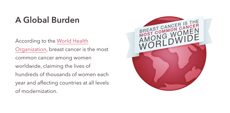 Breast cancer is the most common cancer among women worldwide, claiming the lives of hundreds of thousands of women each year and affecting countries at all levels of modernization.